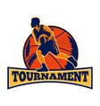 Basketball Player Dribbling Ball Retro vector image