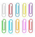 Colorful paper clips set Isolated White background vector image