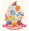 Halloween background with cute characters vector image