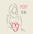 pregnant woman line art with handwritten lettering vector image