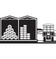 Storage of hay bales in farm vector image