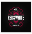 wine logo red and white label design background vector image