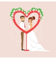 Newlyweds Posing In Heart-Shaped Frame At The vector image