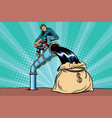 retro businessman fills the oil in the bag of vector image