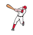 baseball player batting cartoon style vector image