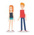 young couple teen character standing people vector image