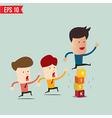 Businessman jump over risk block - - EPS10 vector image