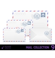 Air mail envelope with postal stamp isolated on vector image