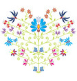 Ethnic folk floral pattern in heart shape on white vector image