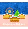 Christmas street market urban background vector image