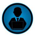 Color circular emblem with man with laptop vector image