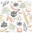 seamless pattern with herbs and spices vector image