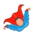 Superhero flying figure icon cartoon style vector image