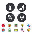 women dress icon sexy shoe sign perfume vector image