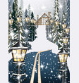 wood house in the winter snowy background road in vector image