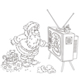 Santa turning on his TV vector image