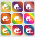 football helmet icon sign Nine buttons with bright vector image