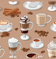 coffee types seamless pattern vector image