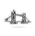 Typography London Bridge silhouette vector image