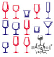 Classic goblets collection martini wineglass vector image