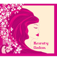 floral background with pretty woman vector image