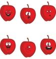 Emotion cartoon red apple set 011 vector image