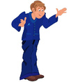 Happy cartoon man standing in blue uniform vector image