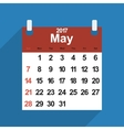 Leaf calendar 2017 with the month of May days vector image