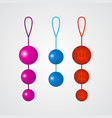 set of colorful vaginal balls on a grey background vector image