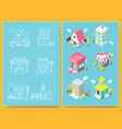set of isometric buildings with street elements vector image