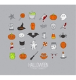 Halloween flat icons grey vector image