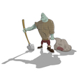 Gravedigger with shovel and sack vector image vector image