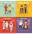 Disabled person care flat concepts set vector image