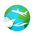 cruise ship and airplane travel symbol vector image vector image