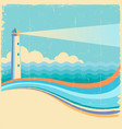 lighthousevintage sea waves background vector image
