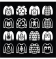 Ugly Christmas sweater on jumper white icons set vector image