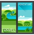 Banners with of river landscape and vector image