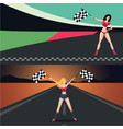 beautiful girl with start flag car and moto race vector image