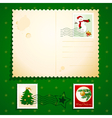 christmas postcard with stamps vector image