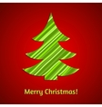 Stylized stripy paper fir tree Christmas card vector image
