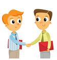 Two young business men shaking hands isolated on vector image