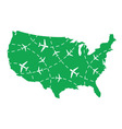 USA map with airplane routes vector image