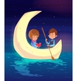 Couple sitting in a boat on the lake cute vector image