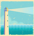lighthouse vintage postervintage sea waves vector image