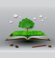 tree on open book vector image