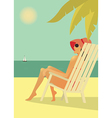 Woman in the chear on the beach vector image