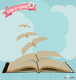 Opened flying books and ribbon vector image vector image
