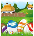 Easter eggs in the grass and rural houses vector image