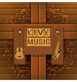 musical background with wooden boards vector image
