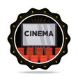 emblem cinema short film with chairs vector image